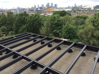 qwickbuild decking frame on rooftop balcony